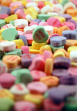 Miss You. Traditional Valentine's Day candy hearts with a depth of field blur Royalty Free Stock Images