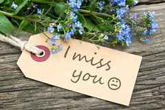 Miss you. Blue flowers and  label with lettering miss you Royalty Free Stock Photo