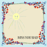 Miss you card. Floral frame illustration with stylyzed sun and place for your text Stock Photo