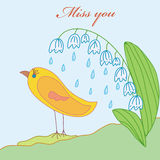 Miss you card. With bird and lily royalty free illustration