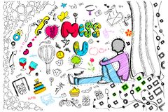 Miss You Card. Illustration of miss you card in colorful doodle style stock illustration