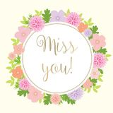Miss You Card With Colorful Flowers - vector eps10. Miss You Card With Colorful pink peach and lilac Flowers - vector eps10 Royalty Free Stock Photos