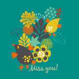 Miss you card cover. Floral illustration with vintage flowers and birds. Vector art design in retro style vector illustration