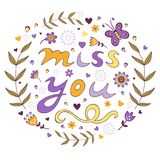 Miss you card Stock Image