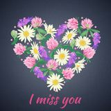 Miss you card with Floral heart. Vector illustration. Wildflowers in shape of heart stock illustration