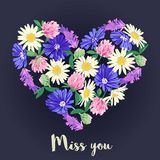 Miss you card with Floral heart. Vector illustration. Wildflowers in shape of heart vector illustration