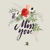 Miss you card with flowers. Miss you card with calligraphic words and flower bouquet stock illustration