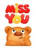Miss you card with teddy bear cartoon character. Vector illustration vector illustration