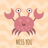 Miss you cute card, poster with a funny crab. Vector illustration vector illustration