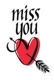 Miss you design card. With heart vector illustration