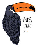 Miss you design card with tropical bird Stock Photography