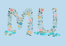 Miss you. Floral letters with Blue Ribbons Stock Photo