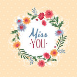 Miss you gift card. Vector illustration vector illustration