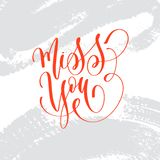 Miss you - hand lettering inscription text to valentines day. Design, romantic love quote on brush stroke grey background, calligraphy vector illustration royalty free illustration