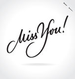 MISS YOU hand lettering (vector) Stock Photo