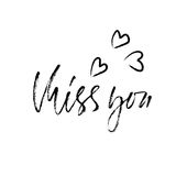 Miss you. Handwritten inscription. Hand drawn modern dry brush lettering. Thank you card. Vector illustration. vector illustration