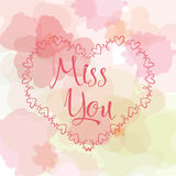 Miss you inscription. Greeting card with calligraphy. Hand drawn lettering design. Typography for banner, poster or. Apparel design. Vector typography Stock Image