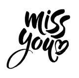 Miss you inscription. Hand drawn modern brush lettering. Vector. Illustration royalty free illustration