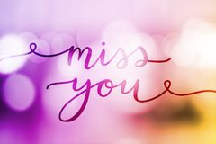 Miss you lettering Stock Photography