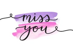 Miss you lettering Royalty Free Stock Images