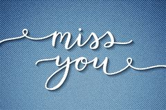 Miss you lettering Stock Image