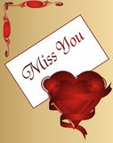 Miss You - Love card -  illustration. Miss you - valentines day greeting love card -  illustration Royalty Free Stock Photo