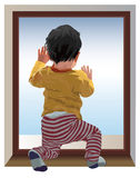 Miss you Mama. Small one year old child kneel and looking at window, waiting for mama. Color vector illustration Royalty Free Stock Image