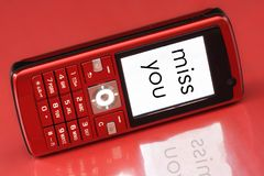 Miss You Message. Mobile phone short message - Miss you stock images