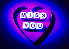 Miss you: message from the heart. Stock Photos