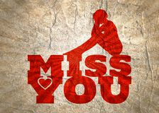 Miss you message. Miss you text with heart icon and sitting on them woman silhouette. Background relative to valentines day Royalty Free Stock Photo