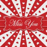 Miss You message with red hearts with red and white burst lines vector illustration