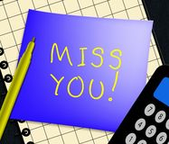 Miss You Displays Love And Longing 3d Illustration. Miss You Note Displays Love And Longing 3d Illustration royalty free illustration