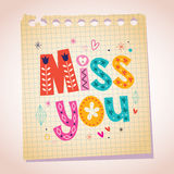 Miss you note paper cartoon illustration Royalty Free Stock Images