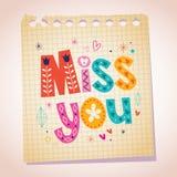 Miss you note paper cartoon illustration vector illustration