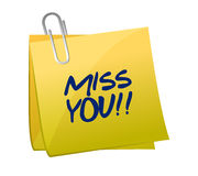 Miss you post illustration design Stock Images