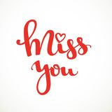Miss you red calligraphic inscription Royalty Free Stock Images