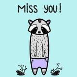 Miss You! sad black Raccoon bear card. Illustration scandinavian style for children book, t-shirt print, poster, video blog. royalty free illustration