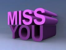 Miss you sign. Against blue background stock illustration