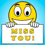 Miss You Sign Means Longing 3d Illustration. Miss You Sign Meaning Longing 3d Illustration stock illustration