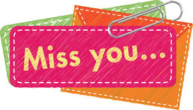 Miss you tag. Illustration grahic style fir Miss you message tag royalty free illustration