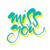 Miss you template. MISS YOU. Inscription. Greeting card with calligraphy. Typography for banner, poster or apparel design. Vector illustration Royalty Free Stock Photo