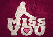 Miss you message. Miss you text with heart icon and sitting on them woman silhouette. Background relative to valentines day Royalty Free Stock Photos
