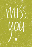 Miss you vintage design card Royalty Free Stock Images