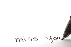 Miss you written Royalty Free Stock Photos