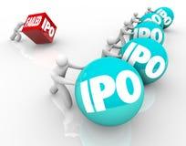 Missad konkurrens för lopp för erbjuda för IPO dålig initial offentligt nya Busi Royaltyfria Foton
