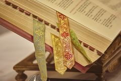 The missal. Missal with various bookmarks used as a book for the readings during the celebrations of the Masses in the Catholic Relicion stock photos
