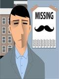 Missande Movember mustasch Arkivfoton