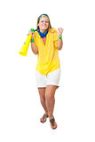 Missed chance. Tense Brazilian woman supporter for a missed  chance to make a goa. Isolated on white background Stock Photo