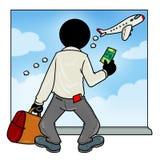Missed plane passenger. Silhouette-man unlucky day - Missed plane passenger Royalty Free Stock Photography
