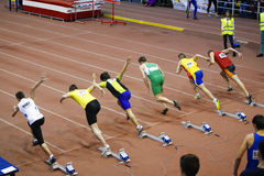 Missed start. The missed start ( person on the 4th place ) of 60m man race, picture from National juniors 1 races from 25 January in Bucharest Royalty Free Stock Image